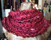 Chunky Red Cowl, Handspun French Merino Wool and Sari Silk, Long Scarf, Infinity Scarf, Handmade, Hand Crocheted, Ready to Ship, OOAK