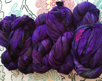 Plum Recycled Sari Silk Ribbon Yarn, Shades of Purple, 3.5 oz / 100 grams, 50 yards, Upcycled, Bulky, Crochet, Knit, Jewelry, Craft, Weave