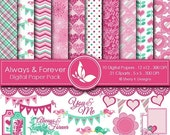 50% off Always and Forever Paper Pack - 10 Digital papers 12 x12 300 DPI - 21 Cliparts 5 x5 300 DPI