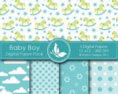50% off Printable Baby Boy Paper Pack - 5 Digital papers  - 12 x12 - 300 DPI