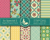 50% off So Special 2 Paper Pack - 10 Printable Digital papers - 12 x12 - 300 DPI //////2