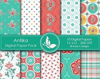 50% off Antika Paper Pack - 10 Digital papers - 12 x12 - 300 DPI