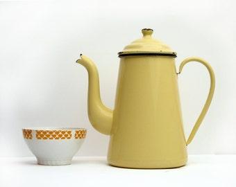 French vintage light yellow enamel Coffee Pot, shabby chic white, Vintage French Enamelware Coffeepot