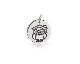 Sterling Silver Graduation Owl Charm  - 1pc 10% discounted High Quality Shiny Charms (5918)/1