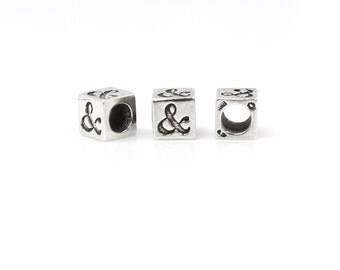 Ampersand Sign Bead Sterling Silver 6mm Block  - 1pc 3.8mm Inside Diameter (4057)/1