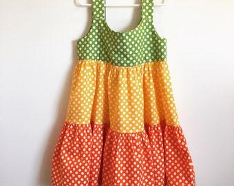 Polka Dot Popsicle, ruffle-tiered cotton sundress (Warm Palette)