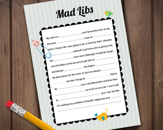 baby mad libs game baby shower games diy baby shower gender