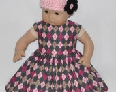 Diamond Shape Print Dress Pink Crocheted Hat and Flower Fits American Girl Bitty Baby and Twins