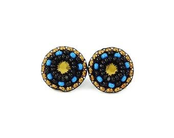 Black stud earrings | teal stud earrings | tiny gold studs | black teal blue stud earrings  | unique christmas gift for her | bohemian studs
