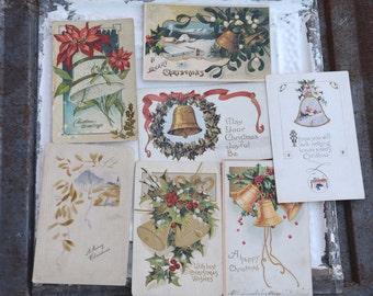 Christmas Postcards, 7 Vintage Holiday Postcards Jingle Bells Season Greetings Vintage Craft Supply Scrapbook Supply DIY Craft Projects