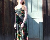 70s Black Floral Maxi Dress with Matching Cropped Jacket