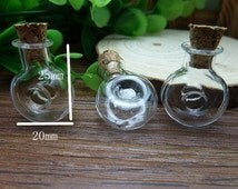 10 pcs 25x20mm Transparent Glass  Wishing Bottles Circle Shape