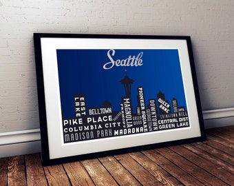 Seattle Art. Skyline Poster. Typography Poster Print. City of Seattle Art Print. Night Time