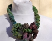 Felted necklace, fibre art, gift, green, purple, felted slices