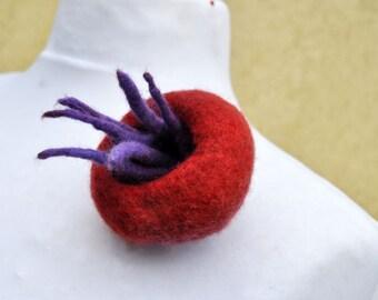 Felt brooch, wool, dreadlocks, rust, red, purple