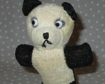 Vintage PANDA BEAR Stuffed Small Carnival Prize Animal Black White Straw Filled