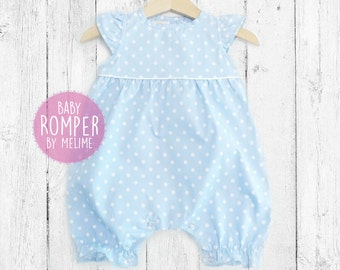 Baby Girl Rompers, Pastel Blue Baby Romper suit, Polka dots Spring/Summer baby romper suit