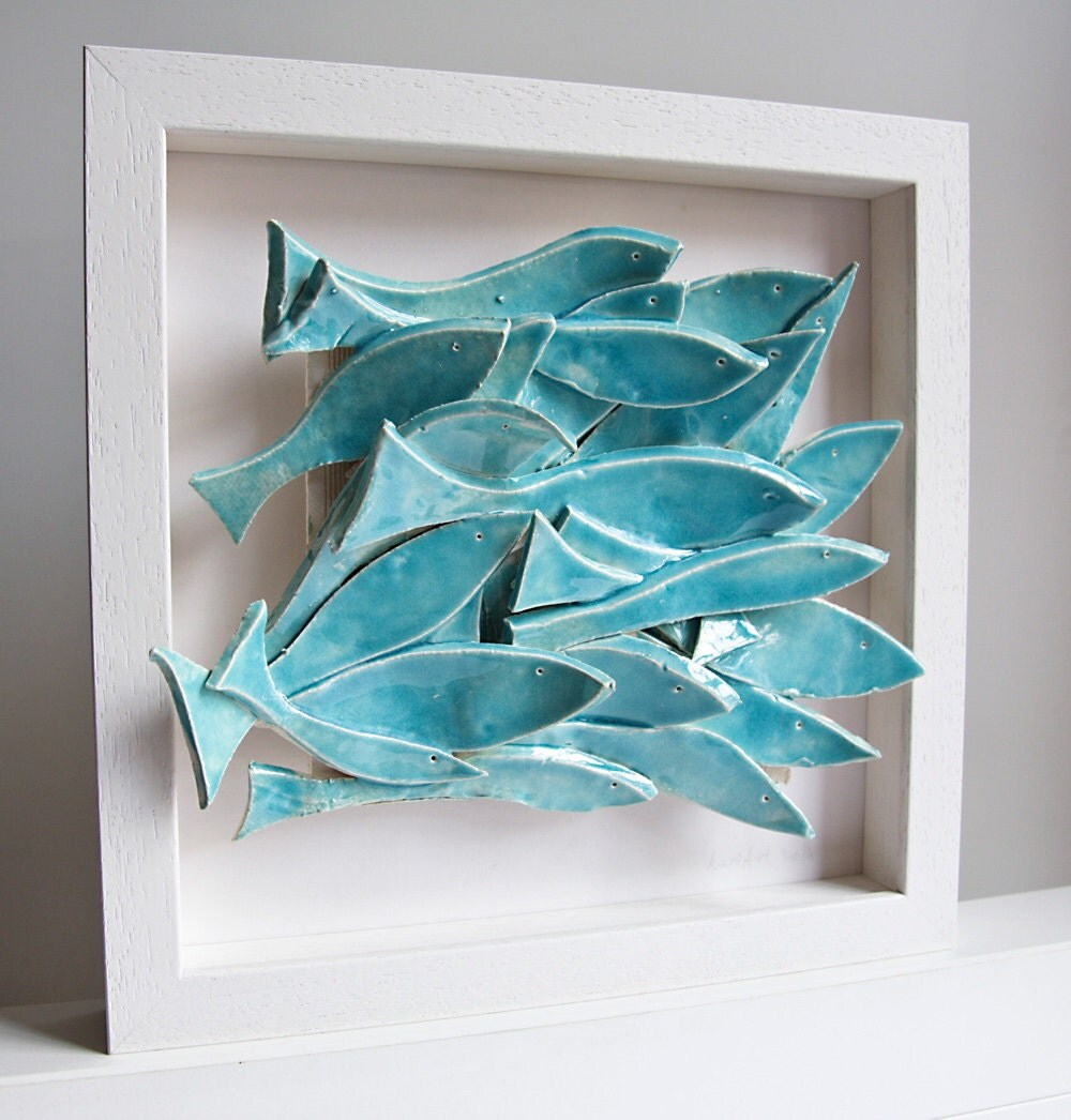 Ceramic wall art school of fish pottery tile ceramic tile for School of fish wall art