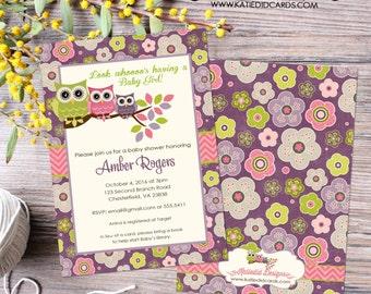 owl baby shower invitation owl first birthday baby girl shower Gender reveal invitation diaper shower (item 1301) shabby chic invitation