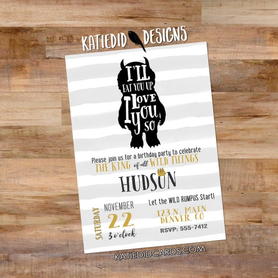 Wild Things birthday invitation party crown wild rumpus stripe king rustic chic first birthday bash gender neutral retirement (item 296)