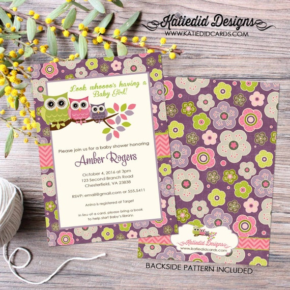 owl baby shower invitation floral chic invite surprise gender reveal diaper wipe brunch co-ed baby shower two moms 1301 Katiedid Designs