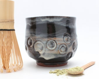 Matcha Tea Bowl with a Bamboo Whisk and Spoon
