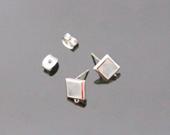 Silver Smoky White Crystal Square Stone Earrings, earrings Findings, Small Square Studs, Posts, 2 pc, KY21925