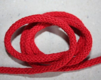 5 mm RED Cotton Rope 5 Yards = 4.57 Meters of Elegant Cotton Braided Cord - Bulky Yarn - Super Bulky Yarn - Macrame Cotton Cord