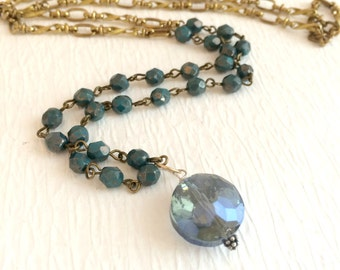 Czech Crystal Necklace,  long blue gold beaded brass vintage style glass statement pendant assemblage rosary chain gift gifts for her
