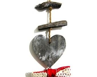 Primitive Christmas Ornament - Distressed Wooden Christmas Decor - Rustic Xmas Heart - Heart Ornament Shabby Christmas - Reclaimed Wood -