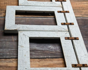 Barnwood Mixed Collage Frame. 3) 5x7 Multi Opening Frame. Rustic Picture Frame. Collage Frame. White Picture Frame. Distressed Frame