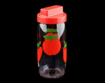 Mid-Century Vintage Apple Jar, Red Plastic Dispenser Lid, 1970s Kitchen Storage, Made in France..