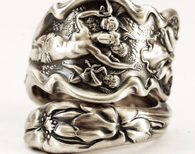 "Goddess Ring, Iris Flower Ring, Sterling Silver Spoon Ring, Art Nouveau Cupid Ring, Antique Wallace ""Irian"" 1902, Adjustable Ring Size"