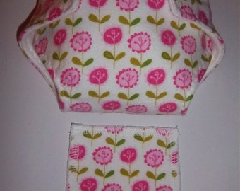 Baby Doll Diaper/wipe - pretty pink and deep pink flowers, green leaves  -  adjustable for many dolls such as bitty baby
