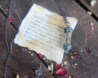 witchcraft jewelry MUGWORT herbs Necklace pagan wicca metaphysics herbs magick occult new age wiccan witch amulet