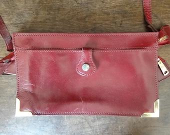Vintage English Leather Red Ladies Handbag Carry Case Shoulder Carrier Soft Accessories Hand Bag circa 1970-80's / English Shop