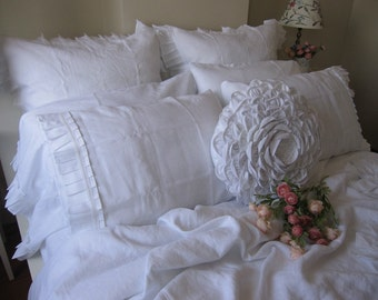 Linen ruffle euro pillow SHAM- Ivory White beige gray oatmeal pink 26x26 20x26 20x36- standard Queen king body- shabby chic bedding pillow