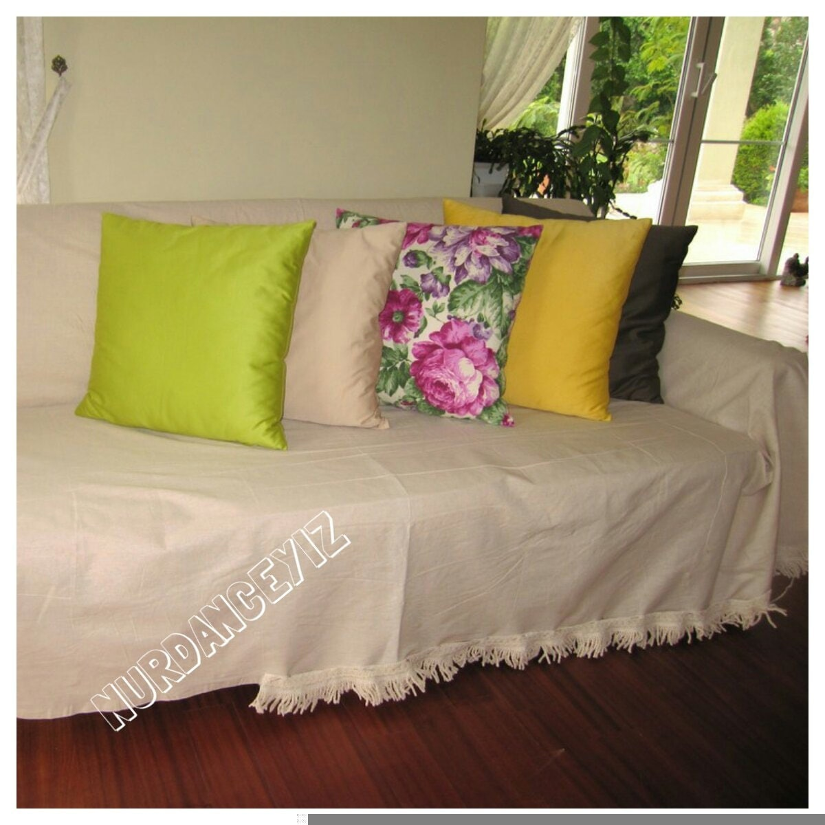 Large Sofa Throw Covers Rectangle Tassel Ivory-couch