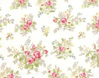 """1 Yard 5.5"""" of Windermere Linen White Floral Garden Cuttings by Brenda Riddle for Moda LAST PIECE"""