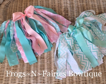 Mint & Pink Fabric Tutu Skirt ~ 0-3 up to 24 Months