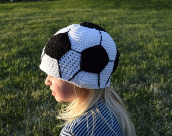 children's soccer hat//crochet//20 inches//4-6 years old