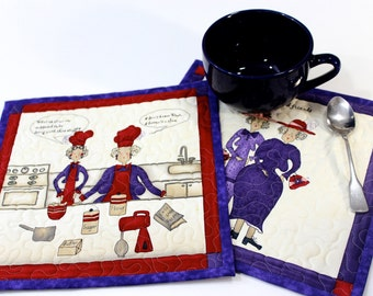 Quilted Mug Rug  Quilters Gift  Set of 2  Old Friends  Best Friend   Lady Friends