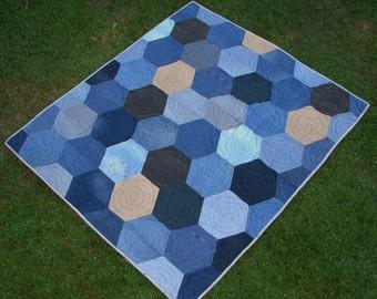 Hexagon Blue Jean Denim Picnic Quilt Throw Blanket