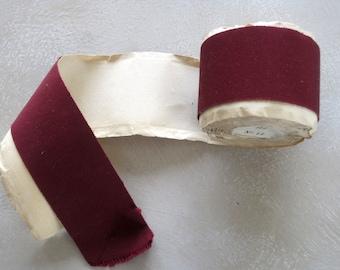 Vintage French Burgandy Grosgrain Ribbon On Original Roll Unused Ribbon 5.5cms Wide