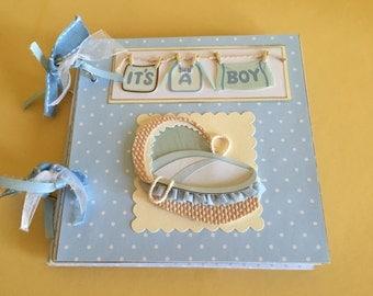 Baby boy album premade album baby scrapbook newborn boy album baby boy gift