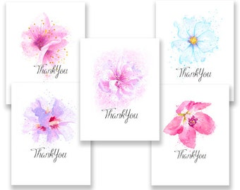 Beautiful Flower Thank You note cards w/envelopes.