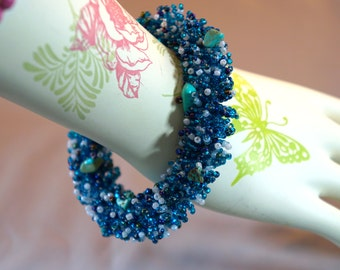 Ocean Blue Azure Turquoise and Pearl Bead Wrap Bracelet Artisan Made