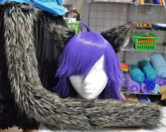 Midnight Wolf Fur Cat Tail and Ears Set