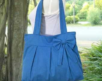 blue cotton fabric purse / tote bag / shoulder bag / hand bag / diaper bag / bow- zipper closure