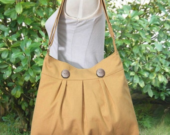 yellow cotton canvas bag / shoulder bag / messenger bag / diaper bag / cross body travel  bag, zipper closure